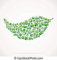eco, folha, desenho, verde, ícone