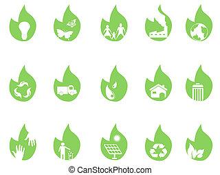 eco, folha verde, ícones