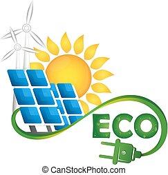 eco, fontes, símbolo, energia alternativa