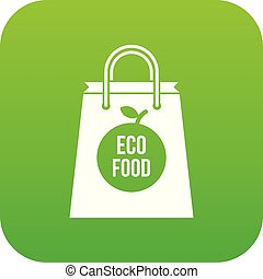 Eco food bag icon digital green