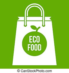 Eco food bag icon green