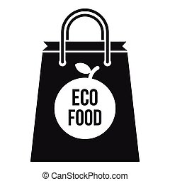 Eco food bag icon, simple style