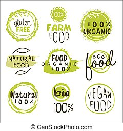 Eco Food Lables Set - Eco Food Green Lables. Vector...