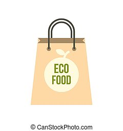 Eco food paper bag icon, flat style