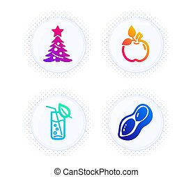 Eco food, Water glass and Christmas tree icons set. Peanut sign. Organic tested, Soda drink, Spruce. Vector