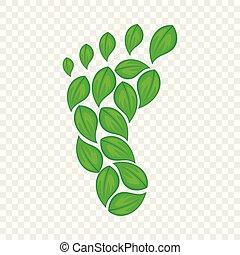 Eco footprint icon, cartoon style