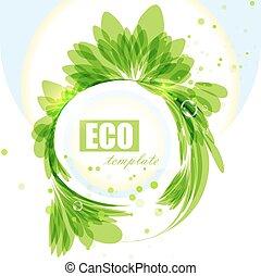 Eco frame, green abstract backgroun
