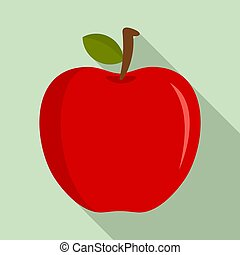 Eco fresh red apple icon, flat style