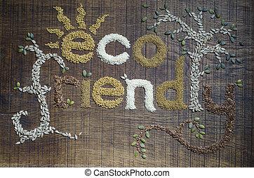 'eco, friendly', écrit, graines, locution, décoré