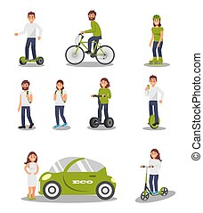 Eco friendly alternative transportation vehicle set, people riding modern electric car, scooter, bicycle, segway, healthy and active lifestyle vector Illustrations