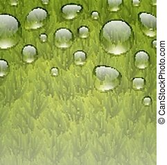 Eco friendly background with water drops on fresh green grass texture
