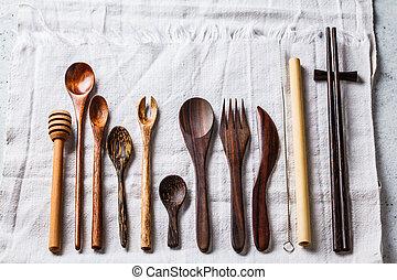 Eco friendly bamboo cutlery, zero waste concept. Plastic free concept.