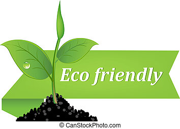 Eco Friendly Banner, Isolated On White Background, Vector...
