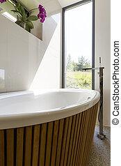Eco-friendly bathroom with garden view