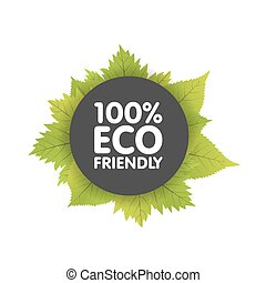 Eco friendly bio badge banners label with green natural leaf. Circle vector illustration