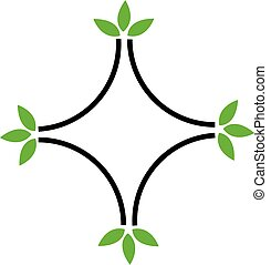 Eco friendly business logo with green leaves
