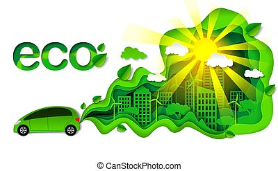 Eco friendly car vector illustration in modern paper art style