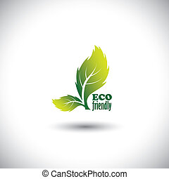 Eco friendly concept showing green fresh vibrant leaves - vector icon. This graphic also  represents nature conservation, biosphere protection, ecological balance, etc