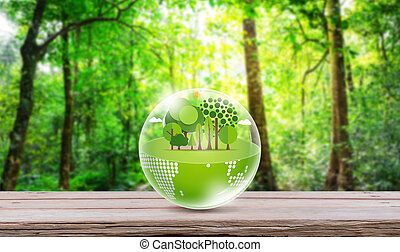 Eco friendly earth on wood table