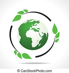 Eco friendly earth with green leaf design stock vector