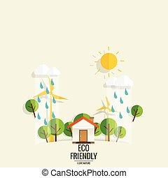eco, friendly., ecologia, conceito, com, árvore, experiência., vetorial, ilustração