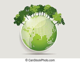 eco, friendly., ecologie, concept, met, bomen., vector,...