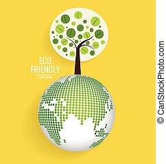 Ecology concept with globe and tree