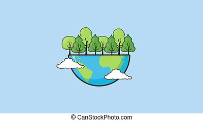 eco friendly environmental animation with earth and trees ,4k video
