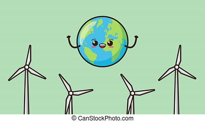eco friendly environmental animation with earth character and energy production ,4k video