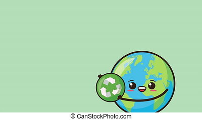 eco friendly environmental animation with earth character and recycle symbol ,4k video