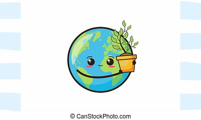 eco friendly environmental animation with earth planet and plant ,4k video