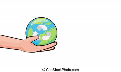 eco friendly environmental animation with hand lifting earth ,4k video