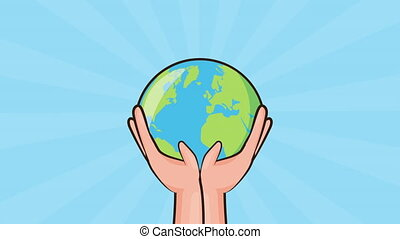 eco friendly environmental animation with hands lifting planet earth ,4k video