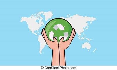 eco friendly environmental animation with hands lifting recycle symbol ,4k video