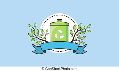 eco friendly environmental animation with recycle waste ,4k video