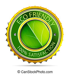 Eco friendly gold icon - Green eco friendly icon with leaf