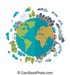 Eco Friendly, green energy concept, vector flat illustration...