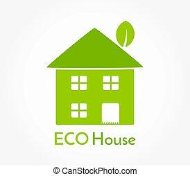 Eco friendly green house icon.