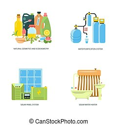 Eco friendly home infographic - Modern eco technologies in ...
