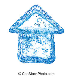 Eco friendly house - House symbol made of clean water ...