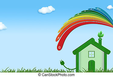 Eco-friendly house illustration with environmentally friendly energy efficiency scale. Eco home energy saving. Think of the green concept