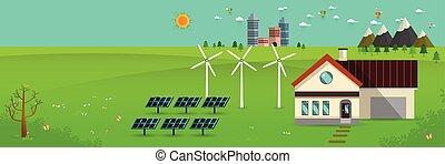 eco friendly house - solar energy, wind energy, Green energy...