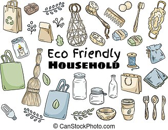 Eco friendly household set. Ecological and zero-waste collection of items. Go green living