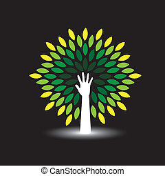 eco friendly icon human hand as tree with green leaves - concept vector. The graphic illustration also represents nature protection, ecology, environment conservation, spa, etc