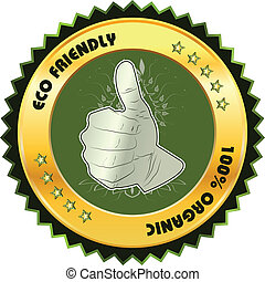 Eco friendly Icon with a thumps up