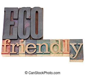 eco friendly in letterpress type