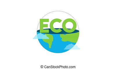 eco friendly lettering with world planet ,4k video animation