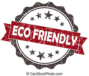 Eco FRIENDLY red grunge vintage seal isolated on white