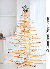 eco friendly, reusable christmas tree made from wood residues, that was left after sanitary cleaning of forest belt