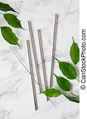 eco-friendly reusable metal drinking straw. zero waste ...